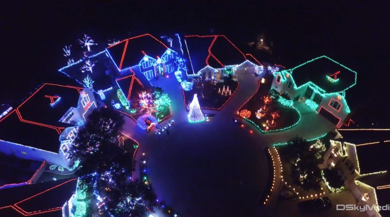 Christmas Lights via Drone – 4K Aerial Footage
